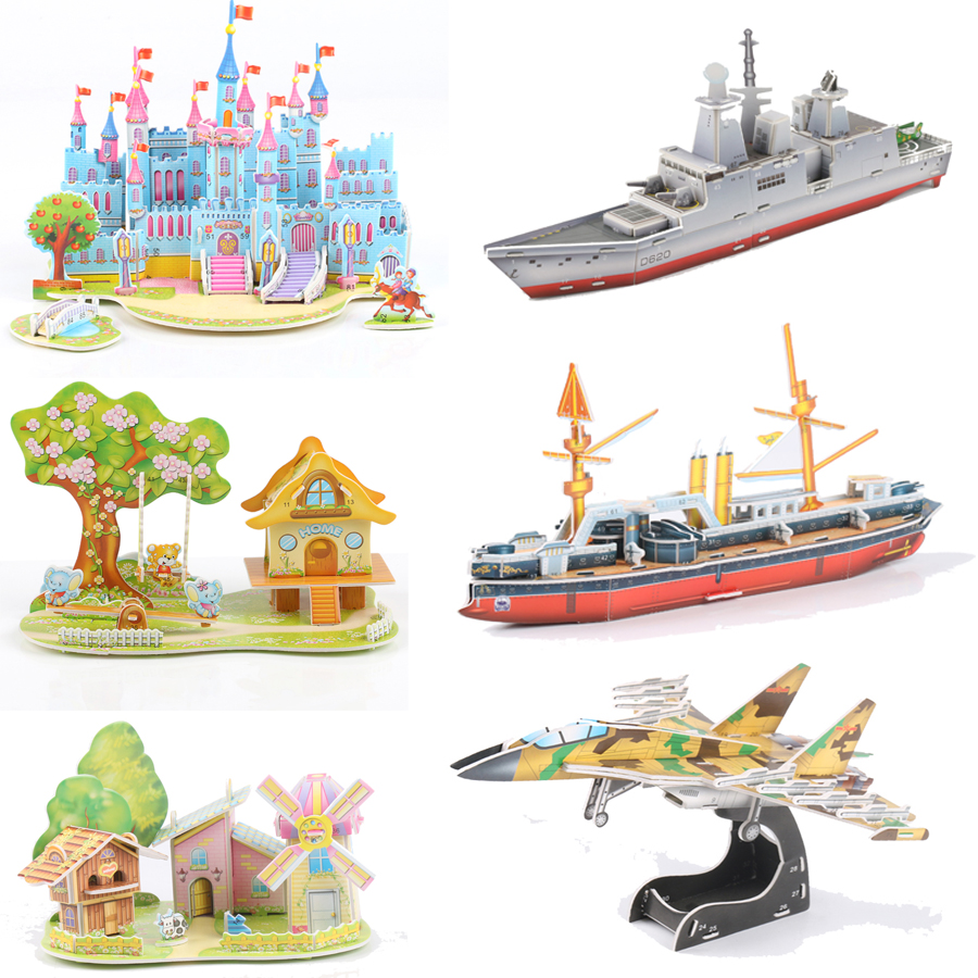 3D DIY Puzzle Jigsaw Baby Toy Kid Early Learning Castle Construction Pattern Gift For Children Brinquedo Educativo Houses D19