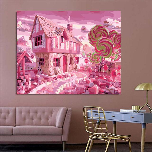 Online Shop Fairytale Cartoon Pink World Lollipop Two-story Building ...