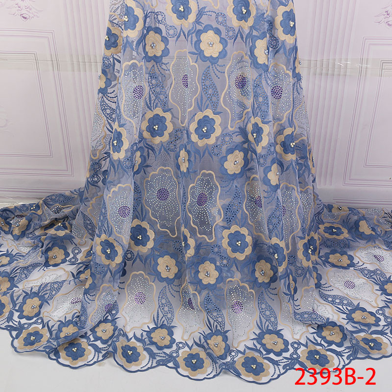 African Lace Fabric Best Selling French Net Lace Nigerian Embroidered Tulle Laces With Beadds Stones For Wedding KS2393B-2
