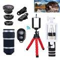 Nova Lente Da Câmera Kit 8X Zoom Telefoto Lentes Fisheye Telescópio Microscópio lentes macro wide angle para iphone 5 6 7 sony motorola