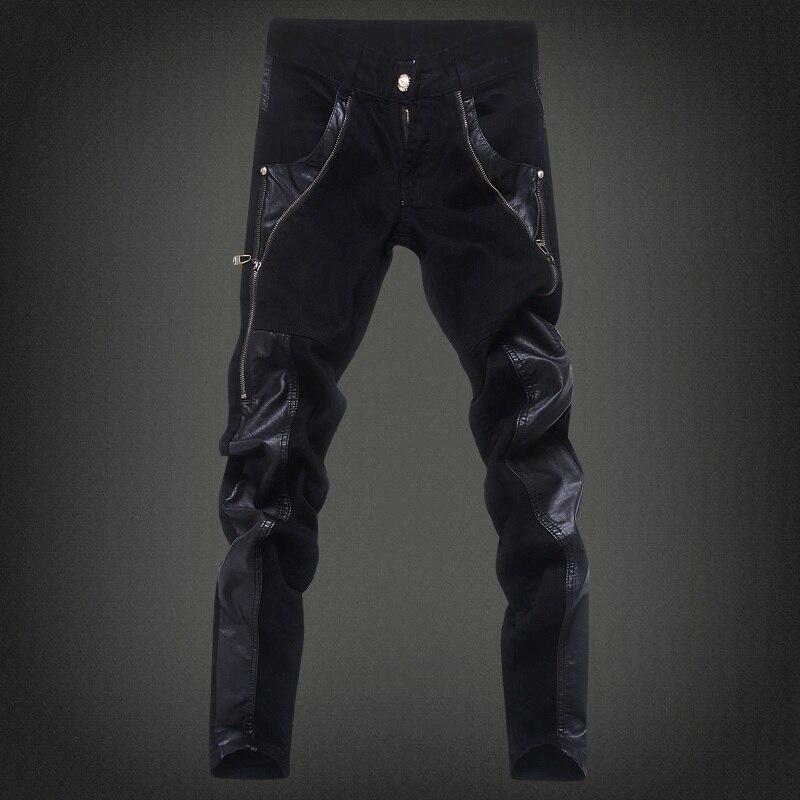 online kaufen gro handel herren leder jeans aus china. Black Bedroom Furniture Sets. Home Design Ideas