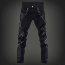 Free shipping new 2016 fashion leather patchwork skinny jeans men brand punk style slim fit pencil pants men /PK6