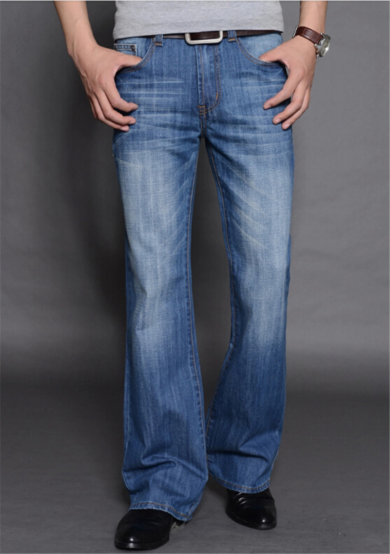 ФОТО New Arrival 2014 Mens Flared Jeans Men's Bell Bottom Denim Male Big Horn Jean Flare Pants Plus Size 28-36