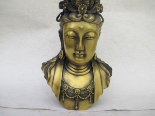 Elaborate Ancient Chinese brass statue of kuan Yin kuan Yin goddess head in Statues Sculptures from Home Garden