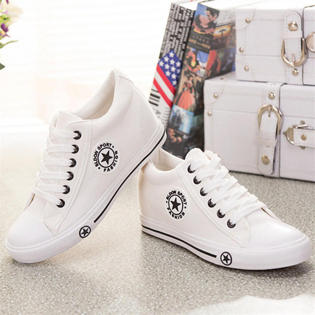 950aa105768d Summer wedges Canvas shoes Woman Shoes Casual Woman white cute basket star  Shoes Woman 5 cm height tennis