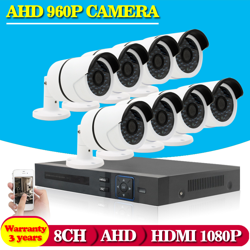 1080P 8CH AHD DVR Recorder 1 3MP Outdoor Waterproof Cameras CCTV System Kit 8 Channel Video