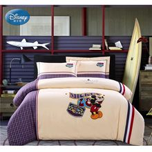 Disney Mickey Mouse Adult/Kids Plaid Twin Double Queen Bedding Set Duvet Cover Flatsheet Pillowcases no Comforter Filling(China)
