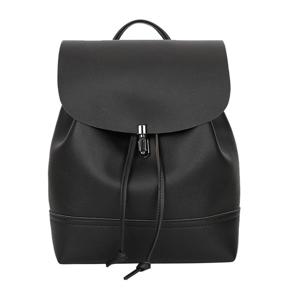 376ef49b93 Women Fashion Pure Color Leather Mini School Bag Backpack Satchel Women  Travel Shoulder Bag Girls Rucksacks