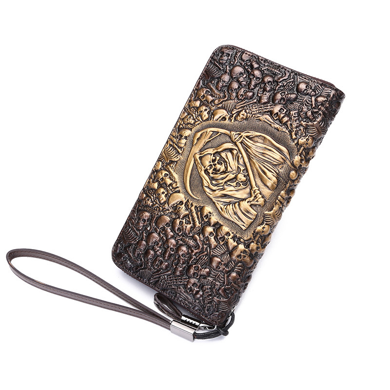 Brand Design Men Luxury Individuality Vintage Long Wallet Skull Style Genuine Cow Leather Purse Men's Clutch Handy Phone Bags brand design men luxury individuality vintage long wallet skull style genuine cow leather purse men s clutch handy phone bags