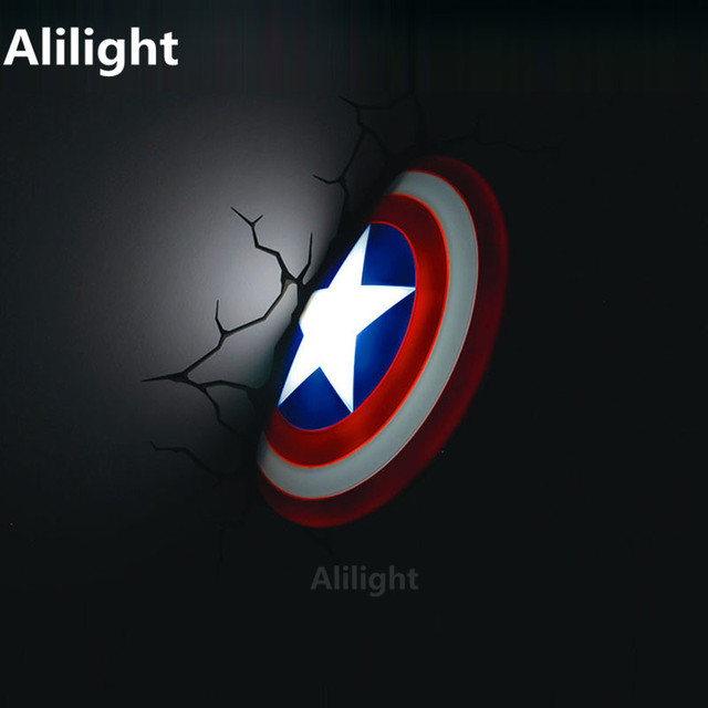 Marvelous Super Heroes The Avengers Captain America Shield Wall Lamp Homeu0026Bar Deco  Wall Light Personalize Toy Lighting