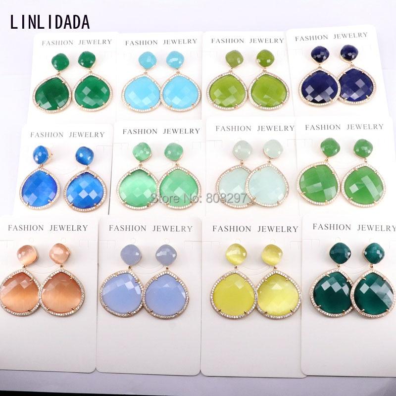 5Pairs For Women Mix color water drop Dangle Earrings Pave Cz Cat Eye Stone Earring Fashion