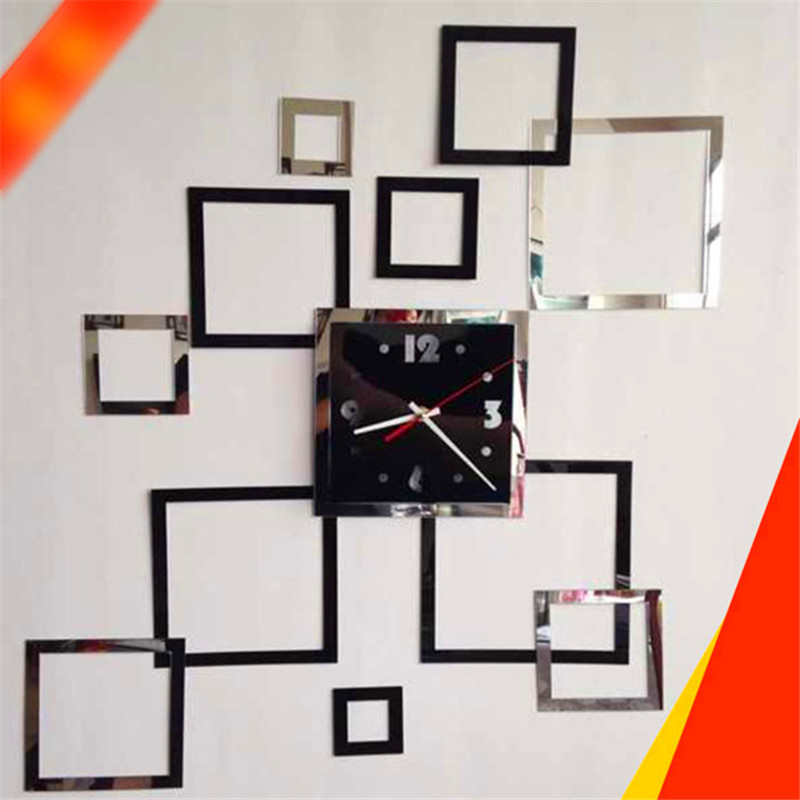 Chic Modern Design Acrylic DIY 3D Quadrate Mirror Wall Clock Decoration Decor Fitment Bedroom wall sticker
