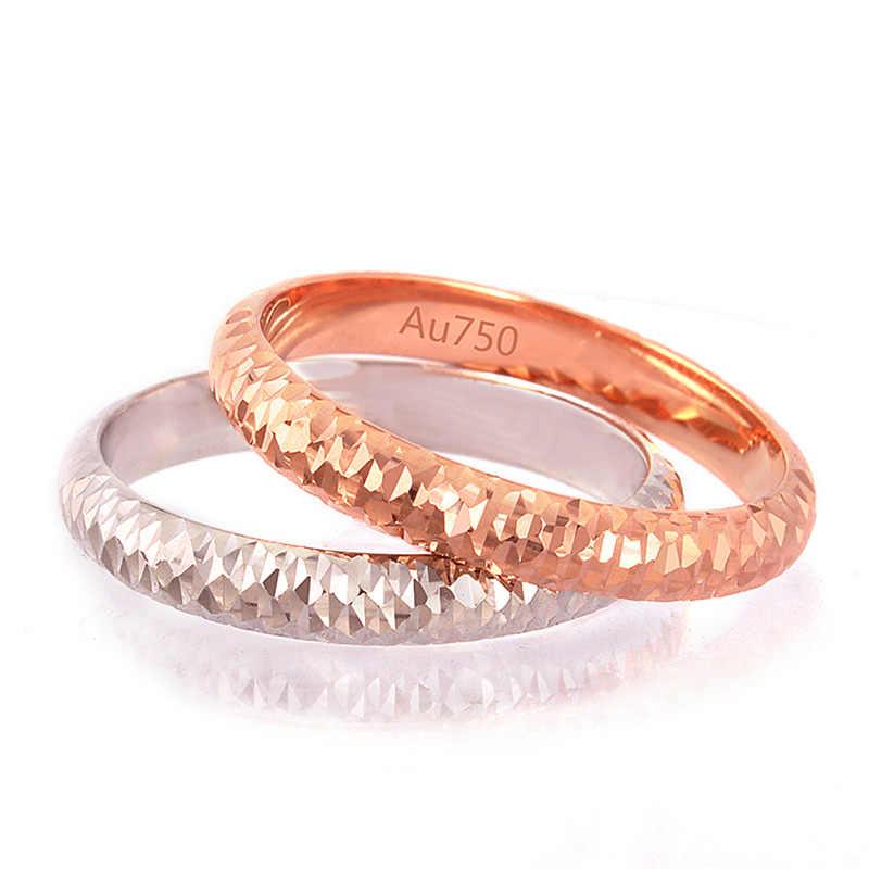 18 k Pure Gold แหวน Rose สีขาว Unisex ผู้ชายผู้หญิงคนรักแหวนหมั้นเครื่องประดับสาวนางสาวของขวัญ 2017 Hot ขายปรับแต่ง