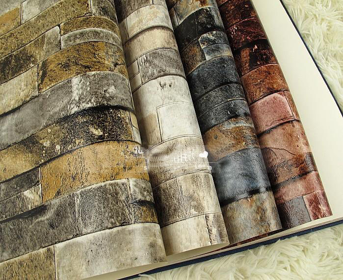 3D Wall Paper Brick Thicken PVC Vintage Stone Wallpapers PVC Vinyl Wallpaper Roll for Walls ...