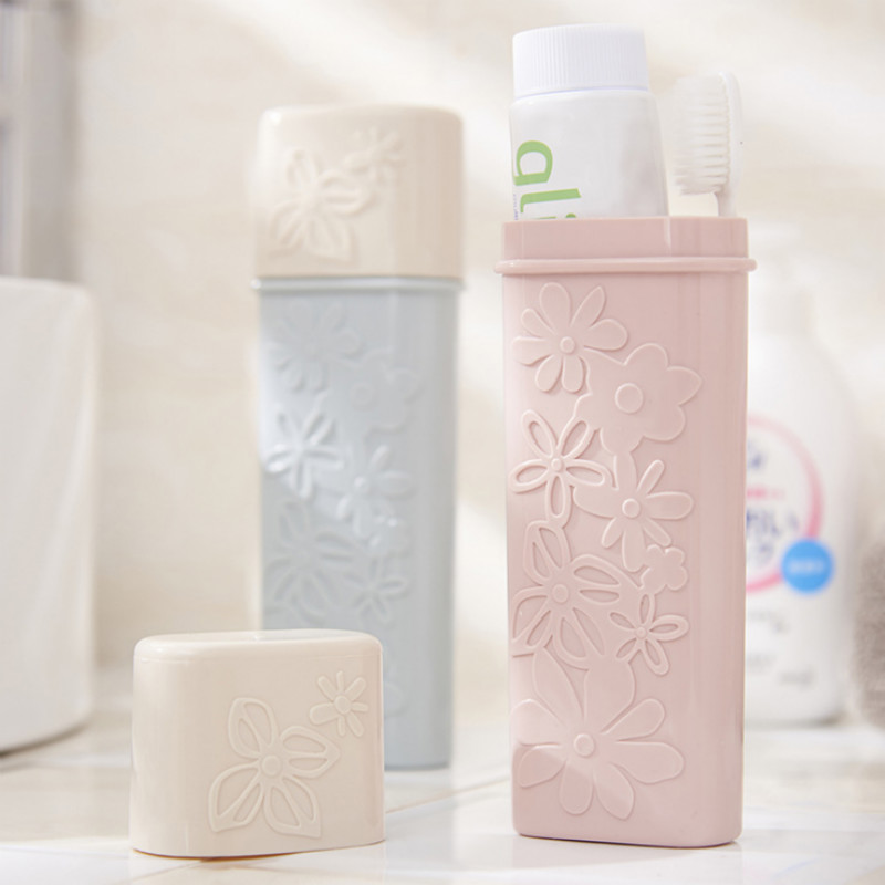 Portable Carved Pure Color Toothbrush Holder Case Travel Hiking Camping ToothBrush Cap Case Traveling Bathroom Accessaries