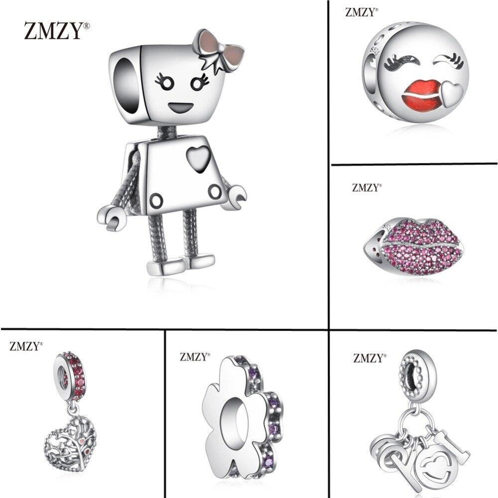 ZMZY New Original 100% 925 Sterling Silver Charm Robot Girl Beads Fit Pandora Charms Bracelets Women Jewelry