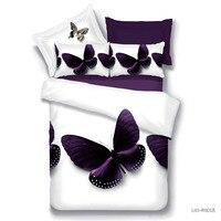 ホームテキスタイル4ピースファミリーセットポリエステル3d寝具セットクイーンサイズ蝶デザイン含める枕布団カバーベッドシート