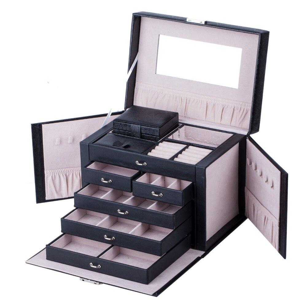 Grande boîte à bijoux anneaux collier emballage affichage serrure organisateur boucles d'oreilles velours titulaire boîtes de rangement étui de voyage W/miroir cadeau