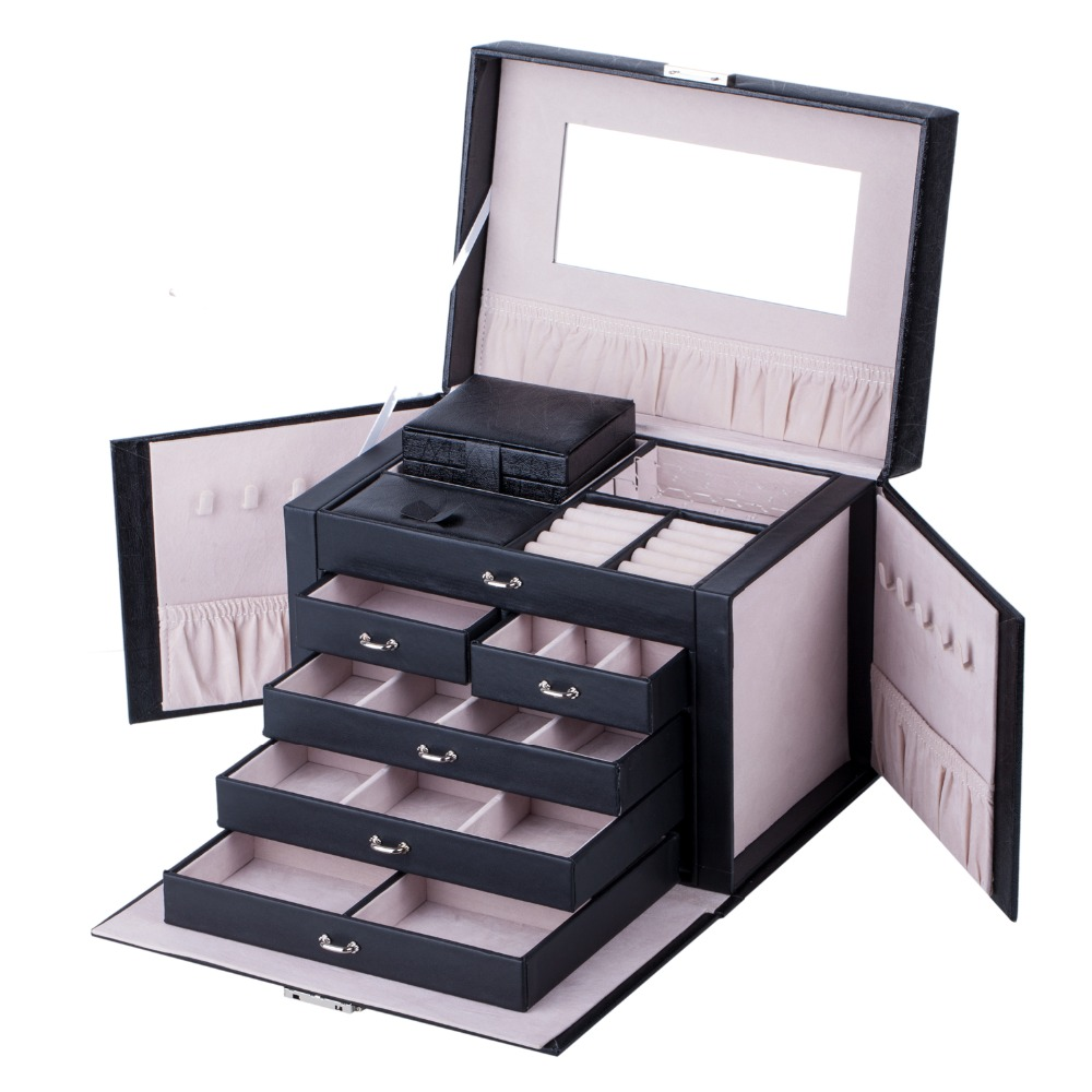 Large Jewelry Box Rings Necklace Packaging Display Lock Organizer Earrings Velvet Holder Storage Boxes Travel Case