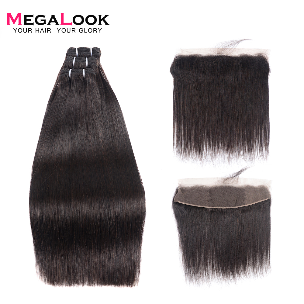 300g Brazilian Double Drawn Human Hair Bundles with Frontal Can Make into Wig 100% Remy Human Hair Weave with Frontal