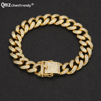 Drop Shipping Top Quality Full Bling Iced Out Mens Miami Curb Cuban Link Bracelets Copper Lab CZ Stone Clasp Chain Bangles