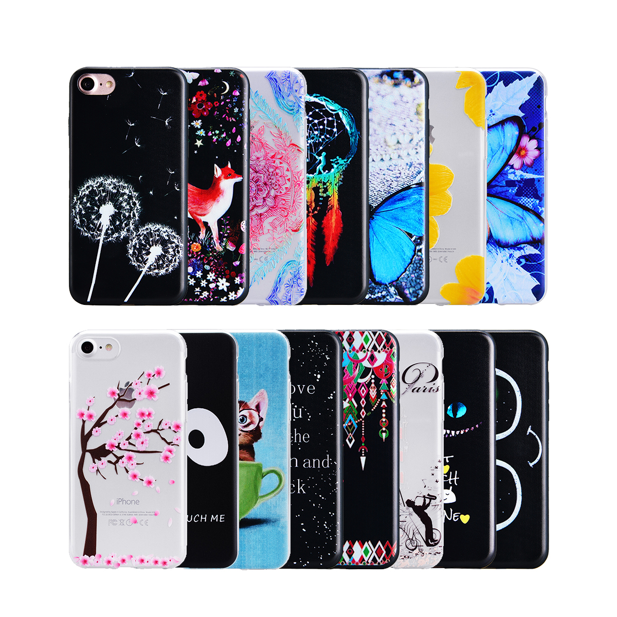 Yokata cute Case For iphone 7 7 plus soft Anti-knock Thin Slim Soft Cover Fitted case clear Silicone Case For iphone7plus