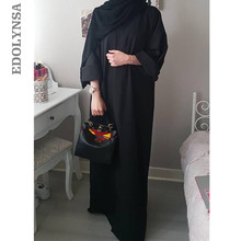 Plus Size Qatar Uae Robe Eelegant Loose Abaya Kaftan Islamic Fashion Muslim Dress Clothing Design Women Black Dubai Abaya D718(China)