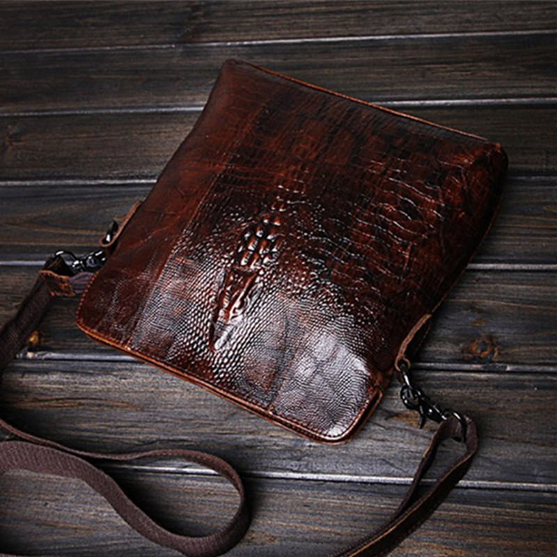 100% Genuine Leather Vintage Men Messenger Bags Luxury Alligator Head Design Men Bags Natural Real Cowskin Men Cross-body Bags vintage crazy house leather men s cross body bag 100% natural cowskin shoulder bag genuine leather men messenger bags