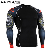 Men Compression MMA Rashguard Fitness Long Sleeves Shirts Base Layer Skin Tight Weight Lifting T Shirts