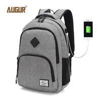 AUGUR 2018 New Laptop Backpack Waterproof Women's School Backpacks For Men Fashion Solid Satchel Schoolbag Mochila Hombre