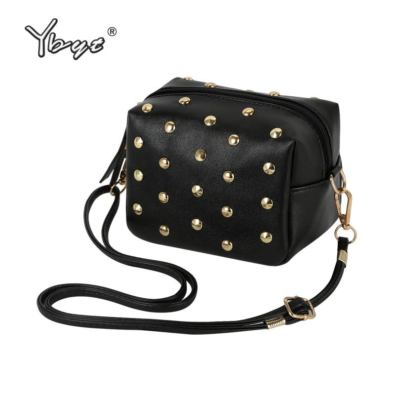 YBYT brand 2018 new mini simple rivet PU leather women casual fashion shoulder crossbody bag hotsale elegant ladies evening bags