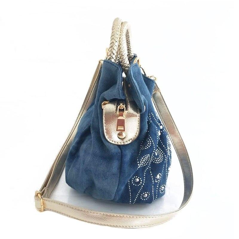 Image 3 - iPinee Luxury Women Demin Handbag Women Messenger Bag Female  Jeans Shoulder Bag Womens Rivet Bags sac a mainsac ahandbag  womenrivet bag