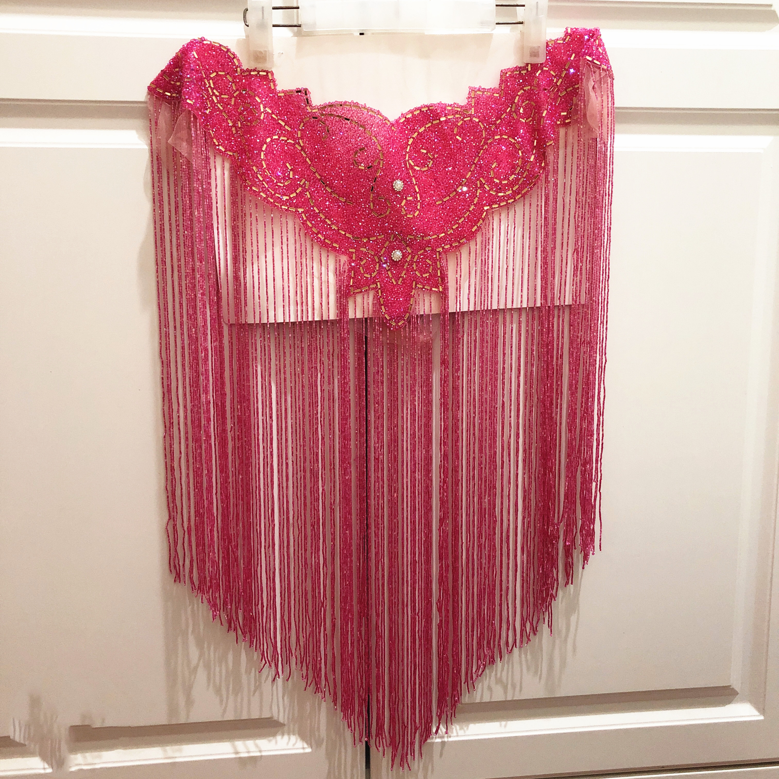 new wedding Blue hot pink Double side crystal beaded tassels collar appliques neckline with fringe 50cm