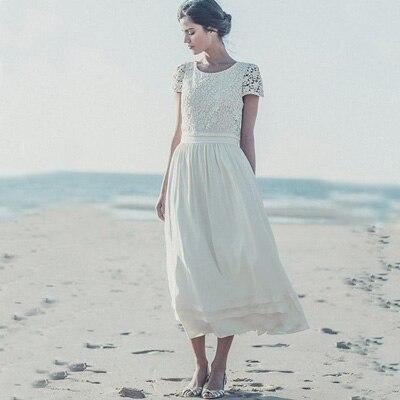 Vintage de encaje hasta los tobillos playa vestido de manga corta ...