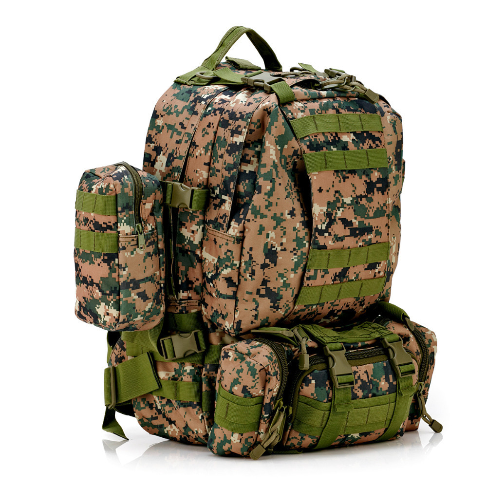 Solid Nylon wearproof Outdoor 60L Sport Climbing Camping Hiking combined Trekking Molle travel Bags Military Tactical Backpack