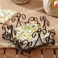 15 * 15 * 9.5 cm continental tissue holder retro creative kitchen napkin towel iron storage rack racks