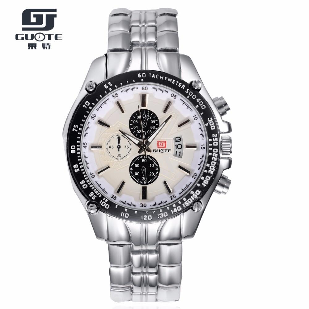 GUOTE New Fashion Watch Men Stainless Steel Calendar Classic Business Quartz Wristwatch Male Waterproof Clock  Relogio Masculino все цены