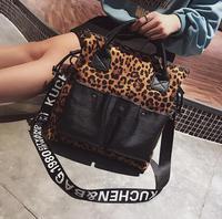 Wide Strap Leopard Pocket Big Capacity Handbag Casual Totes Bag Women Crossbody Bag Female Shoulderbag #089