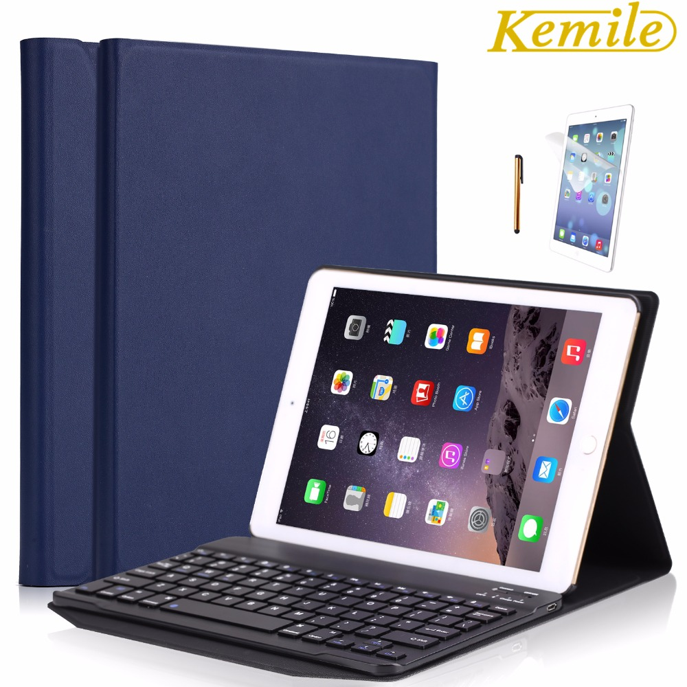 Kemile Portable Leather Case For New iPad 2017 9.7 inch Cover Wireless Aluminum Alloy Bluetooth Keyboard for 2018