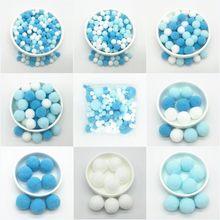 Pompons de couleur mixte blanc bleu, boules de fourrure, bricolage, pompons souples, décor de mariage, colle sur tissu, accessoires 8mm à 30mm 20g