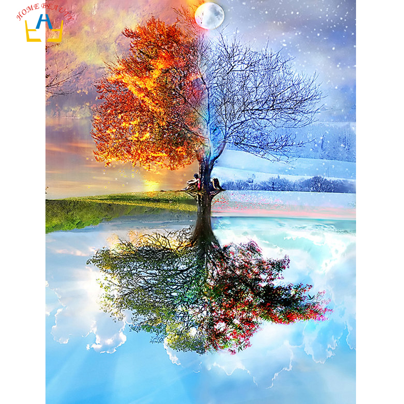 Season tree painting by numbers diy acrylic coloring drawing Modular canvas pictures for living room artwork paint by number Живопись по номерам
