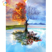 Season tree painting by numbers diy acrylic coloring drawing Modular canvas pictures for living room artwork paint by number(China)