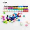 10MM round Loose Silicone Beads for Teething Necklace silicone round beads for baby teether BPA safe DIY loose beads 20 COLors