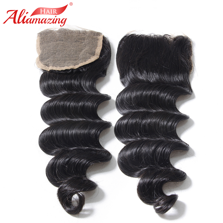 Ali Amazing Hair 5x5 Lace Closure Loose Wave Brazilian Remy Human Hair Closure With Baby Hair Middle Free Three Part #1B Color