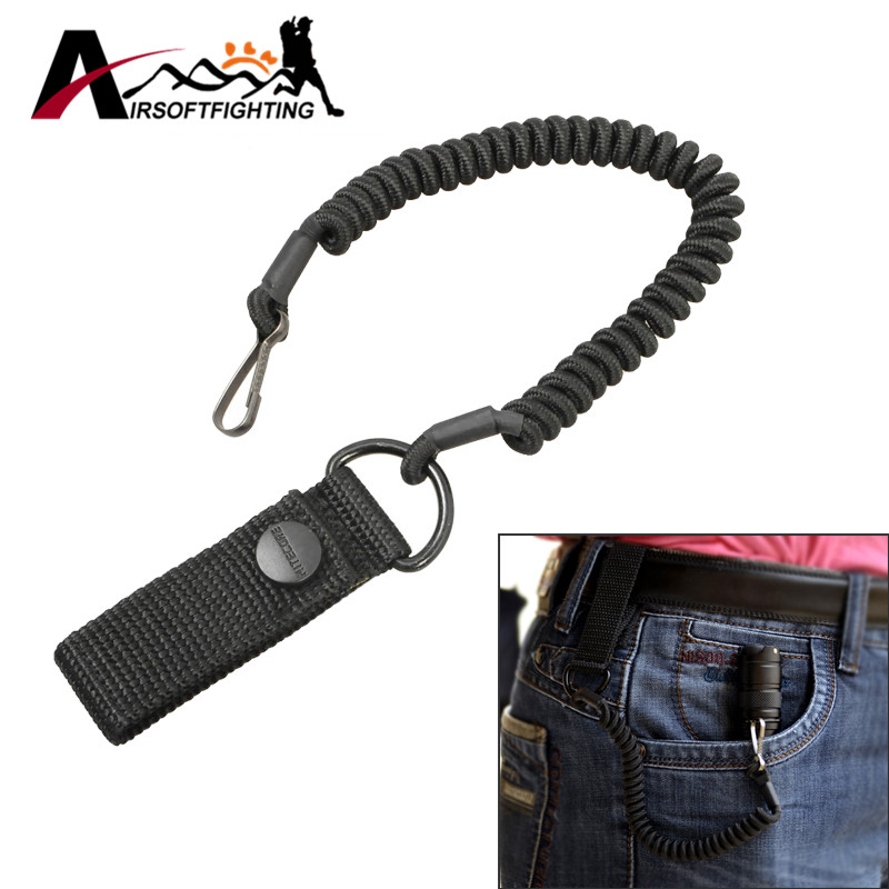 Tactical EDC Telescopic Sling Lanyard Pistol Spring Sling with Belt Buckle Flashlight Safety Rope for 25.4mm Lamp Keychain Strap