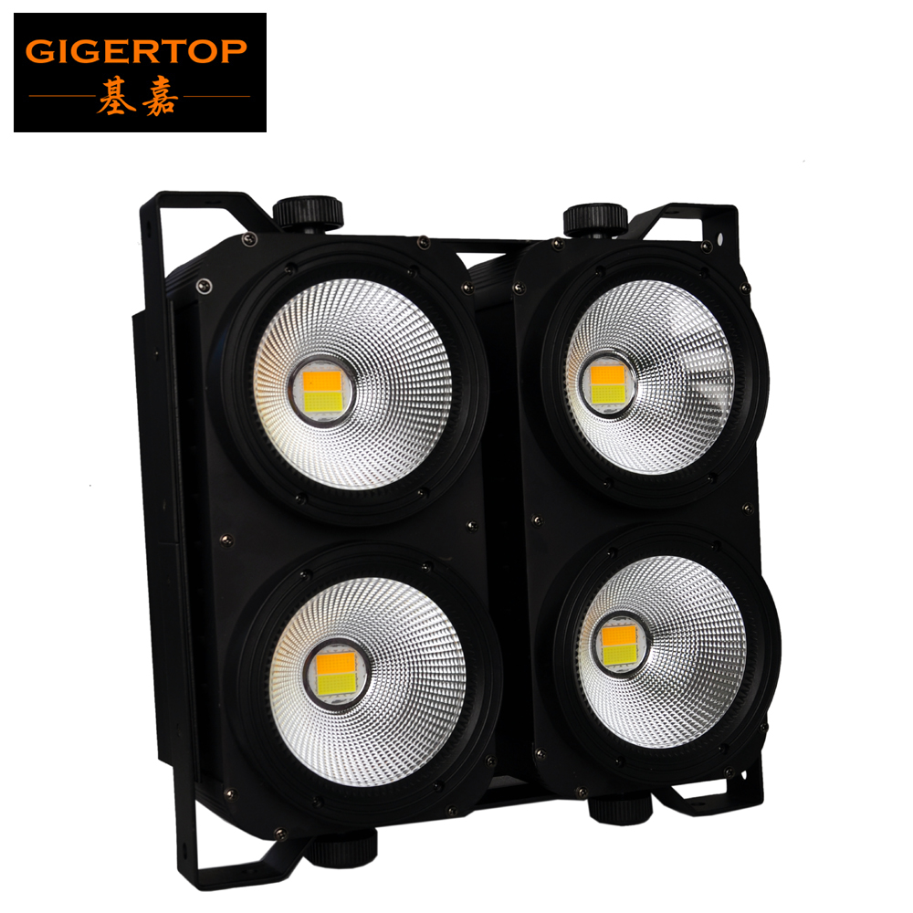 Freeshipping COB LED BLINDER 4(C) Stage Blinder Light DMX Audio TV Movie Light No Flicker 4 Eye Theater lighting CW/WW Gigertop show plaza light stage blinder auditoria light ww plus cw 2in1 cob lamp 200w spliced type for stage
