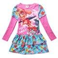 Vestidos de meninas Outono de Manga Comprida Vestido Casual Para A Roupa Das Meninas Dos Desenhos Animados Crianças Vestuário Cão Bobo Choses Crianças Vestidos de Roupas