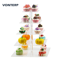 VONTERP 1 PC square 5 Tier clear Acrylic Cupcake Display Stand /acrylic cake stand/Transparent acrlic holder for wedding