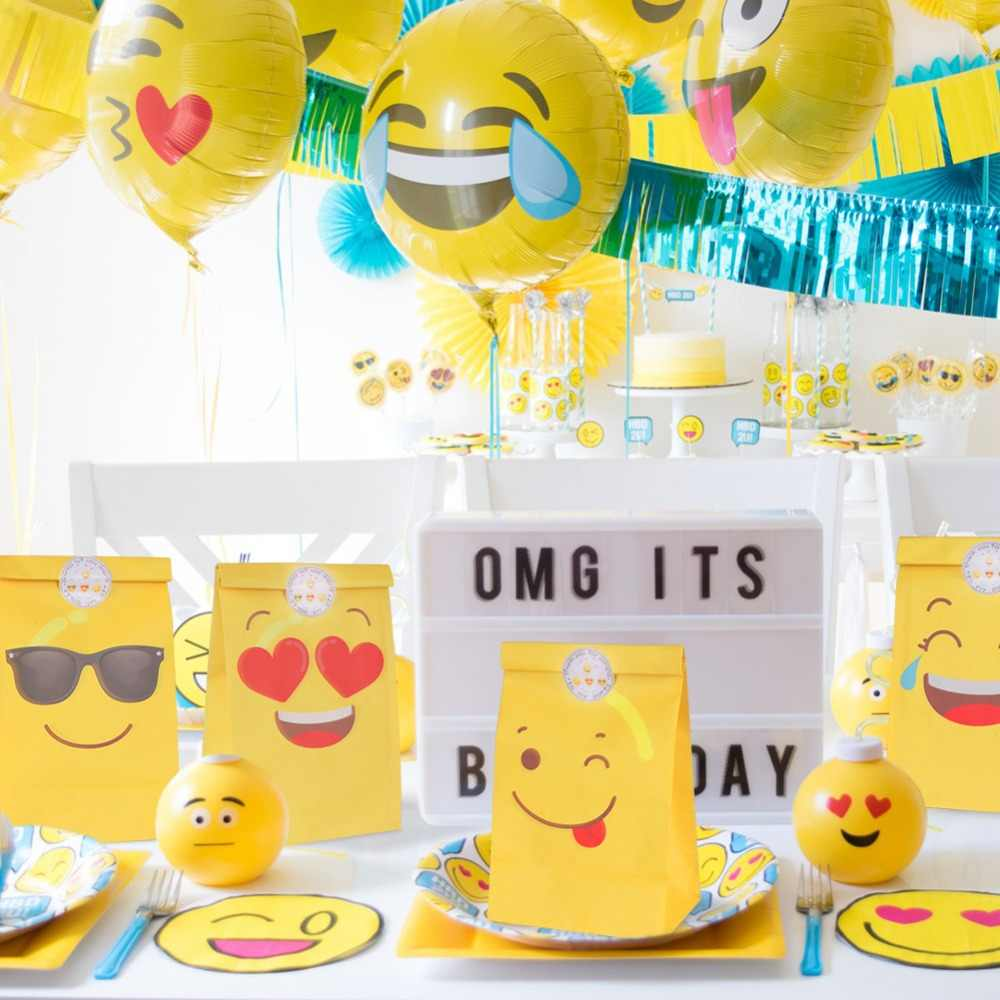 OurWarm 12pcs Emoji Paper Bags Birthday Party Favors DIY Decorations Yellow For Gifts
