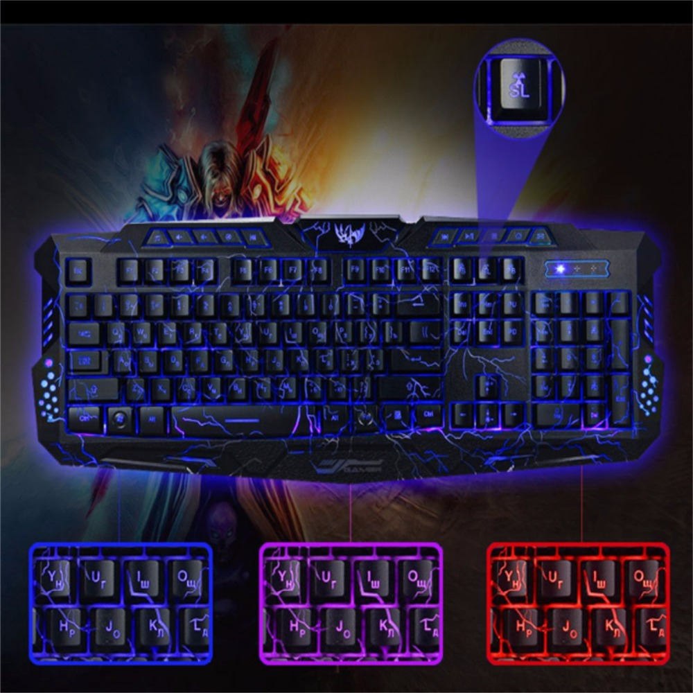 Image 5 - Russian Keyboard Changeable LED with Color Luminous Backlit Multimedia Ergonomic Gaming Keyboard and Mouse Set for Game computer-in Keyboard Mouse Combos from Computer & Office
